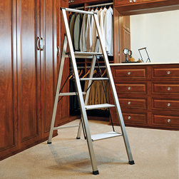 "Frontgate - Ultralight Slimline 4-Step Ladder - Nonmarring leg tips with nonslip rubber feet protect floors while keeping the ladder steady.. Conforms to ANSI Type I commercial standards. 250-lb. capacity. Just 2"" thick when folded. 8-1/2""-deep top platform. Weighing a mere 11 lbs. and measures just 2"" when folded, our Ultralight Slimline 4-Step Aluminum Ladder is our lightest deep-step ladder. It's crafted from aircraft-grade aluminum and features an 8-1/2""-deep nonslip platform for extra stability.. . . . . View operating instructions."