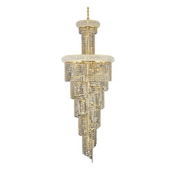 """PWG Lighting / Lighting By Pecaso - Adrienne 22-Light 22"""" Crystal Chandelier 1530SR22G-SA - Offering elegant and timeless sophistication, the Adrienne Collection features stunning and exquisitely designed Crystal Chandeliers. Placing the large pieces in a multi-storied foyer and seen from below or outside creates an utterly, dazzling speckle of light."""