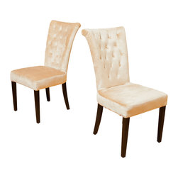 Great Deal Furniture - Juliette Velvet Dining Chairs (Set of 2), Beige - Put the finishing touches to your dining room or kitchen decor with the elegantly tufted Juliette dining chairs. With its soft velvet fabric and padded tufted backrest and cushioned seat, you will enjoy the comfort and style of these chairs.