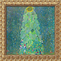Amanti Art - The Sunflower, c. 1906-1907  by Gustav Klimt - The rhythmic flowing line and organic forms of Klimt's unparalleled paintings became powerful influences on the Art Nouveau movement.Here his attention is on the varied greens of a country garden, accented by the bright gold of sunflowers in bloom.