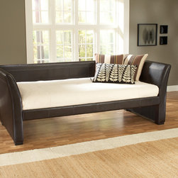 Hillsdale - Malibu Daybed - This stunning daybed has a modern design,with gently sleighed arms and optional hidden roll-out trundle. Covered in brown leather,the back and sides are padded for increased comfort.