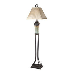 Uttermost - Uttermost 28545 Olinda Floor Lamp - Uttermost 28545 Carolyn Kinder Olinda Floor LampThis floor lamp has a light green and metallic brown porcelain body with antiqued dark brown metal details. The pleated square shade is a silkened champagne textile.Features: