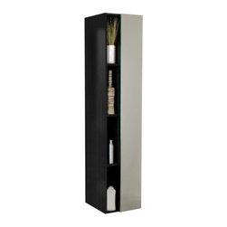 Fresca - Fresca FST8070BW Black Bathroom Linen Side Cabinet With 4 Cubby Holes & Mirror - Fresca FST8070BW Black Bathroom Linen Side Cabinet With 4 Cubby Holes & Mirror