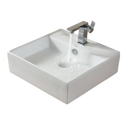 Kraus - Kraus C-KCV-150-14601CH White Square Ceramic Sink and Sonus Basin Faucet - Add a touch of elegance to your bathroom with a ceramic sink combo from Kraus