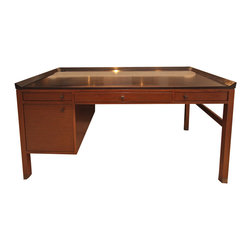 Ted Boerner - Consigned Ted Boerner Sidelines Desk - Organize and synergize your office efforts with this sleek, consigned Ted Boerner desk. Three drawers, walnut finish and a dashing tray top work in concert to make this gently used and in excellent condition desk a done deal in the decor department.
