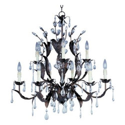 Maxim Lighting - Maxim Lighting 86OI Grove 9-Light Chandelier in Oil Rubbed Bronze - The leaves of this grove in Oil Rubbed Bronze are accented with a crown of crystal drops and a bloom of faux wax candles.