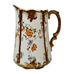 None visible - Consigned Water Jug with Flowers in Red Brown and Gold - Festive ceramic water jug for your dinner table decorated with flowers in panels with brown and gold highlights; antique English Victorian, 19th century.
