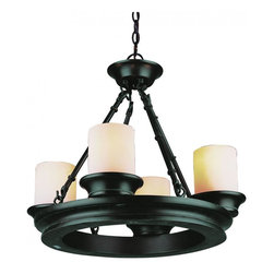 Joshua Marshal - Four Light Rubbed Oil Bronze Tea Stain Heavy Candle Glass Candle Chandelier - Four Light Rubbed Oil Bronze Tea Stain Heavy Candle Glass Candle Chandelier