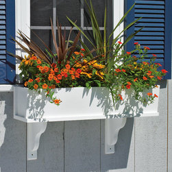 Montauk Vinyl Window Box with Brackets - Improve the look of your home with this beautiful window box. It has the look and feel of a wood planter combined with the easy maintenance of vinyl and comes in several different sizes to customize your home. No liners required. Will not rot.
