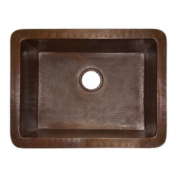 Native Trails - Bistro Kitchen Sink in Antique - 16 Gauge Hammered Copper. 3.5 in. Drain. IAPMO Listed / cUPC Certified. Post-consumer recycled copper. 24 in. L x 18 in. W x 10.5 in. H ( 26 lbs.). SpecificationsThe Bistro hand hammered copper kitchen sink is a deep well sink that has been crafted by the Native Trails artisans to bring out the delightful, rich patina of the recycled copper. The perfect choice for a second sink in a larger kitchen.