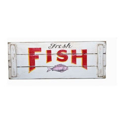 Fresh Fish Crate Wood Sign - One of the easiest ways to add a bit of fun charm to a cottage is with a vintage sign. If you don't have the time to scour swap meets, just order one that's made to look vintage, like this fun fish market sign.