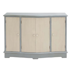 """Benzara - The Simple Wood Console Cabinet - Have you been searching high and low for a simple and elegant looking cabinet? Looking for a cabinet that isn't too big and hence will fit in a smallish space? Well, if you have been then you will find this wood console cabinet a gem of a creation. With four doors, this cabinet that has a gray frame and off white doors will be perfect to keep various things that lie around in your bedroom. Keep things like books or clothes and everything will be orderly in it. Additionally, this console cabinet has been made using quality materials; this ensures that it will last in tiptop condition with only the minimal maintenance on your part. Perfect if you have just bought a new place or if you are renovating; this wood cabinet simply must not be overlooked. Wood console cabinet dimensions: 42 inches (W) x 12 inches (D) x 32 inches (H); Wood console cabinet color: Off white, gray; Made from: Wood; Dimensions: 51""""L x 7""""W x 51""""H"""
