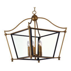 Ritz-Single-Tier Chandelier - A collection of classic colonial design which features formed metal frames finished in a rich Natural Aged Brass.  The Clear glass panels are framed in a contrasting black which gives the design dimension.