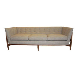 Used Milo Baughman For Thayer Coggin Button Up Sofa - Be the first to own the new Milo Baughman Button Up Sofa for Thayer Coggin reissue.  Just brought back out of the Thayer Coggin archives! This beautiful sofa is done in a neutral fabric with a solid walnut exterior frame. This absolutely gorgeous wooden frame exoskeleton has us drooling!