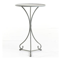 Flourished Cafe Table - Constructed in the likeness of those found in French flower shops, this bistro table is perfect for a covered patio or conversation corner. It's made of iron with a handpainted finish, which gives it a slight antique quality. Pair it with a few chairs for afternoon lunches or create your own French plant stand with potted ferns and magnolias.