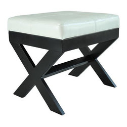 Homcom Modern Faux Leather Ottoman / Footrest Stool - White - This sleek ottoman footrest is a great fit in any living space. Its unique X-shaped legs add a stylish feature that is different from most other ottoman footrests. The comfortable PU leather exterior makes it a great place to sit or put your feet up and relax. The leather also gives it a chic look that makes it able to add an extra design element to any room. With sturdy legs and comfortable top, whether you need a place to sit or somewhere to put your feet up, this ottoman is a true multi-tasker.