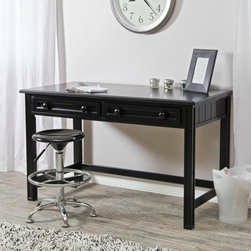 Fashion Bed Group - Casey Writing Desk - Black - B50C6D - Shop for Childrens Desks from Hayneedle.com! Let the words - and your home office design - flow with the Casey Writing Desk - Black. Crafted with durable wood finished in a modern black shade this traditional go-anywhere desk boasts a spacious worktop and two narrow storage drawers - each fronted with two knobs - that catch writing utensils notepads and other supplies. Pair this desk with a supportive chair and you've got the best seat in the house for work correspondence and creative projects.About Fashion Bed GroupFashion Bed Group is a Leggett and Platt Company known for its innovative fashion beds daybeds futons bunk beds bed frames and bedding support. Created in 1991 Fashion Bed Group is a large consolidation of three leading bed manufacturers. Its beds are manufactured of genuine brass plated brass cast zinc cast aluminum steel iron wood wicker and rattan. Fashion Bed Group's products are distributed throughout North America from warehouses located in Chicago Los Angeles Houston Toronto and Ennis Texas.