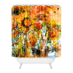 DENY Designs - Ginette Fine Art Abstract Sunflowers Shower Curtain - Who says bathrooms can't be fun? To get the most bang for your buck, start with an artistic, inventive shower curtain. We've got endless options that will really make your bathroom pop. Heck, your guests may start spending a little extra time in there because of it!
