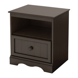 South Shore - South Shore Handover Nightstand Espresso - South Shore - Kids Night Stands - 3519062 - This sturdy Handover Nightstand in Espresso finish has been made to meet your childs needs for years to come. This look which will never go out of style works well with various types of d��cor so you can change your little ones bedroom to suit his or her tastes without having to think about replacing the furniture. It was designed with both maximum safety and a trendy look in mind to give you a well ordered and highly practical room set up to reflect the taste of the times.  It created a pleasant comfortable space for your child. Furthermore the Espresso wooden knobs stylish kick plate and framed drawer front with plank effect are really confirming its Cottage Style.