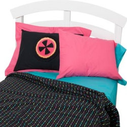 One Grace Place - One Grace Place Magical Michayla Twin Sheet Set - Let the magic of Magical Michayla come to life in this awesome set that's filled with color. The sheet set includes flat and fitted sheets and two standard pillowcases in a turquoise blue fabric.