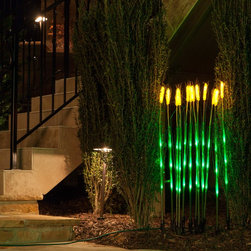 Natural LED Wheat Stalks - Artificial LED wheat stalk lights act as decorative pieces for your lawn while giving off light. The internal LEDs, which emit a green color, come in packs of 12 and remain cool to the touch. Stick the lights in the ground to blend them with other plants or arrange them in a large ceramic pot.