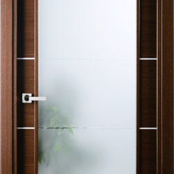 "Italian Wenge Interior Single Door w Frosted Glass Decorative Strips - SKU#    Mia-VetroBrand    ValdoDoor Type    InteriorManufacturer Collection    Modern European Interior DoorsDoor Model    Door Material    WoodWoodgrain    Italian WengeVeneer    Natural Italian Wenge Wood VeneerPrice    798Door Size Options    24"" x 80"" (2'-0"" x 6'-8"")  $030"" x 80"" (2'-6"" x 6'-8"")  $032"" x 80"" (2'-8"" x 6'-8"")  $036"" x 80"" (3'-0"" x 6'-8"")  $0Core Type    Swedish HoneycombDoor Style    Door Lite Style    Full LiteDoor Panel Style    Raised MouldingHome Style Matching    Modern , ContemporaryDoor Construction    Prehanging Options    Prehung , SlabPrehung Configuration    Single DoorDoor Thickness (Inches)    1.75Glass Thickness (Inches)    1/4Glass Type    Single GlazedGlass Caming    Glass Features    TemperedGlass Style    Tempered Frosted Galss with Clear LinesGlass Texture    Glass Obscurity    Door Features    Door Approvals    Door Finishes    Prefinished; natural Italian wenge wood veneerDoor Accessories    Weight (lbs)    340Crating Size    25"" (w)x 108"" (l)x 52"" (h)Lead Time    Prefinished Slab Doors: 7 daysPrefinished Prehung:14 daysWarranty    2 Year Limited Manufacturer WarrantyHere you can download warranty PDF document."