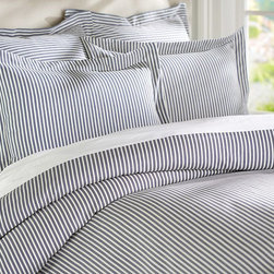 THATCHER TICKING STRIPE DUVET COVER & SHAM - NAVY BLUE - Our yarn-dyed beddings fine ticking stripes energize the colors and patterns of anything theyre paired with.