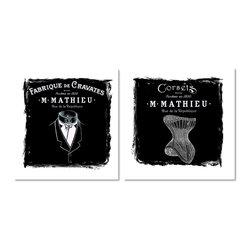 Studio D&K - Black and White Art Prints, Set of 2 - Set of two black and white French fashion illustrations on canvas
