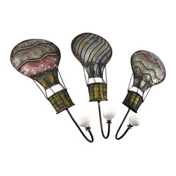 Zeckos - Set of 3 Metal Hot Air Balloon Wall Hooks - This set of metal wall hooks adds a decorative accent to any wall in your home or office. Each hot air balloon plaque measures 15 inches long, 6 inches wide, 3 1/4 inches deep, and easily mounts to the wall with a single nail or screw by the keyhole hanger on the back. These hooks are great for hanging coats, hats, bags, or leashes and they make a lovely housewarming gift.