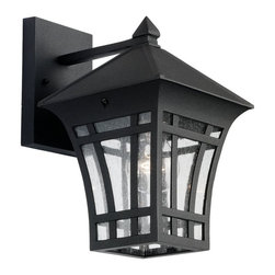Seagull - Seagull Herrington Outdoor Wall Mount Light Fixture in Black - Shown in picture: 88132-12 One Light Outdoor Wall Lantern in Black finish