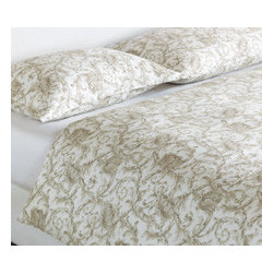 Acanthus Duvet Cover - From modern times to the classic Italian fresco, centuries of artists have been influenced by the soft, spiraling leaves of the Acanthus plant. Like so many greats before it, our Acanthus collection brings this classic, romantic design to luxury linens.