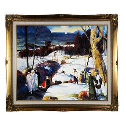 """overstockArt.com - Bellows - Easter Snow, 20x24, Legacy Gold Frame - Gold Finish Oil Painting - 20"""" x 24"""" Oil Painting On Canvas Easter Snow Originally painted in 1915, today it has been reproduced in fine hand painted oils on canvas. This image is part of the series of paintings Bellows made, between 1907 and 1915. The landscape, Easter Snow , offers a beautiful and soulful perspective on everyday life in middle class America. The artist's use of light enhances the colors and textures delivering an earthy feel within the composition. A wonderful example of turn-of-the-century realism, this landscape portrait fits well above a fireplace or any room with plenty of light to show off its true and luminous beauty. """"...the most acclaimed American artists of his generation."""" Columbus Museum of Art George Wesley Bellows (1882-1925) was an American painter who lived and produced most of his work at the start of the twentieth century. Known for bold depictions of urban life in New York City, Bellows captures American pastimes based on his love of athletics. Bellows' style mixes dark atmospheres with bright light and geometrical shapes with long brushstrokes giving his scenes a sense of perpetual, fluid motion. These hallmarks of his style allowed Bellows to depict the grittiness of American society, a popular movement amongst turn-of-the-century realist artists. Although boxing scenes are Bellows' major contribution to art history, he later cultivates a more refined style and develops his use of light and dark to characterize the griminess of urban life fueled by the political and social themes of his time."""