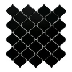 Somertile - SomerTile 12.5x12.5-inch Morocco Glossy Black Porcelain Mosaic Tiles (Set of 10) - Style your floor with character using these unique mosaic tiles. These waterproof,medium-duty tiles look stunning in bathrooms and kitchens and can withstand normal footwear,such as from sneakers. They come in a case of ten and cover 11 square feet.