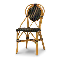 Palecek - Patio Bistro Chair - Pole rattan frame and legs. Seat and back woven with high quality UV resistant plastic. Available only as shown.