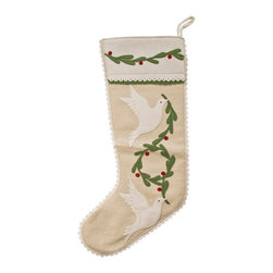 The Sandor Collection - Doves Of Peace Stocking - 7.5 x 20.5 Inch - Bring Hungarian craftsmanship and culture to your home this holiday season with a traditional Hungarian designed Doves of Peace Stocking. Hang this beautiful handcrafted gem on your fireplace or anywhere in your home this year and for many years to come! The Doves of Peace Stocking can be purely decorative and can also be filled with a multitude of small gifts! This stocking is 7.5 inches x 20.5 inches(190mm x520.7mm)  and is made using the traditional Hungarian hand-cut reverse felt applique technique.