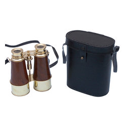 Handcrafted Nautical Decor - Wood Binoculars w/ Leather Belt and Leather Case 6'' - These beautiful Hampton Nautical Captain's Solid Brass and Wood Binoculars with Leather Case 6'' will make anyone feel like a true navigator. With classic eye pieces, these binoculars have in-line prisms for improved field of view and precision ground glass 1.75 inch (44 mm) diameter objective lenses. Focusing is accomplished using a knurled focusing knob on top of the binoculars. The binoculars have a leather strap and come with a handmade leather case.--------    Solid brass wrapped in wood nautical binoculars--    --    Functional and decorative nautical decor--    20x magnification--    Easy focusing with knurled knob--    Leather strap and handmade leather case included for safe keeping--    Custom engraving/photo etching available; logos, pictures, and slogans can easily be put on any item. Typical custom order minimum for engraving is 100+ pieces. Minimum lead time to produce and engrave is 4+ weeks.--