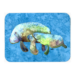 Caroline's Treasures - Manatee Kitchen Or Bath Mat 20X30 8660 - Manatee Mom and Baby Kitchen / Bath Mat 20x30 - 20 inches by 30 inches. Permanently dyed and fade resistant. Great for the Kitchen, Bath, outside the hot tub or just in the door from the swimming pool.    Use a garden hose or power washer to chase the dirt off of the mat.  Do not scrub with a brush.  Use the Vacuum on floor setting.  Made in the USA.  Clean stain with a cleaner that does not produce suds.
