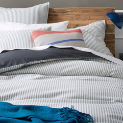Ticking Stripe Duvet Cover + Shams - Simple ticking stripes are classic and not too girly at all. Tomboy approved.