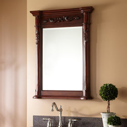 Provence Vanity Mirror - Finished in Distressed Antique Cherry, this French style mirror was designed to complement the Provence Vanity Cabinets, but adds a lovely accent to any decor.