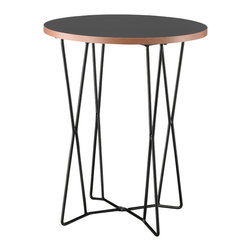 "Adesso Inc. - Network End Table - Black melamine veneer with natural MDF layered edge; table top is .75"" thick. The table has a black metal wire base with 5/16""  Diameter legs. 21.75"" Height. 17.75"" Diameter table top. The wire legs form an 11"" Square base"