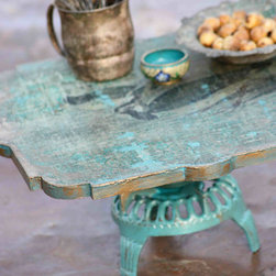 Woodland Keepers Cake Stand by Patina Vie - What a shabby chic find. It has a vintage, distressed wood look with a hint of gold, and that pop of robin's egg turquoise is just lovely.