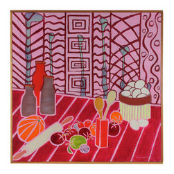 Lost Art Salon - Confection Original Oil by Frances Hicks - This is kitchen art at its most fun. Whimsical fantasy will inspire you to whip up your best confections. Signed by the artist and framed by hand.