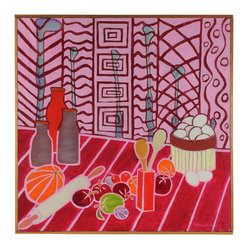 Confection by Frances Hicks - This is kitchen art at its most fun. Whimsical fantasy will inspire you to whip up your best confections. Signed by the artist and framed by hand.