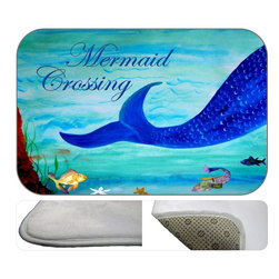 Mermaid Crossing Plush Bath Mat, 20X15 - Bath mats from my original art and designs. Super soft plush fabric with a non skid backing. Eco friendly water base dyes that will not fade or alter the texture of the fabric. Washable 100 % polyester and mold resistant. Great for the bath room or anywhere in the home. At 1/2 inch thick our mats are softer and more plush than the typical comfort mats.Your toes will love you.
