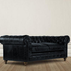 "Bensington 90"" Leather Upholstered Sofa - Reproduction of the classic Chesterfield style Bensington Sofa upholstered in supple vintage look leather with hand-hammered brass nails. Eight-way hand-tied spring suspension and coordinating back cushions are all 50% feather and down + 50% polyfiber wrapped around a 4-1/2"" foam core, hardwood frame. Material in the back of cushion is brown velvet. Hardwood ash legs."