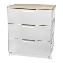 IRIS USA, Inc. - Premier 3-Drawer Chest with Casters, White - The Premier Collection offers durability and affordability without sacrificing elegant design. The premier high grade chest features furniture-grade drawer glides for smooth opening and closing and removable casters for mobility when you need it. Classic colors combine with warm wood tones to create unique, contemporary pieces that will accent any room in your home.