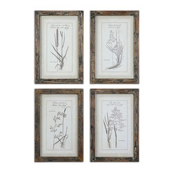 Uttermost - Grasses Framed Art Set of 4 - Prints are accented by dark taupe, open weave, linen mats then surrounded by reclaimed wood frames with a medium brown base coat with slate blue and taupe paint distressing.