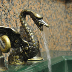 Bathroom Widespread Swan Sink Faucet Set - This is a gorgeous lost wax cast, solid brass widespread faucet set with a swan motif.