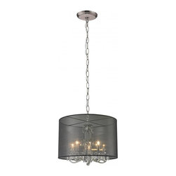 Five Light Brushed Nickel Organza Black Shade Drum Shade Chandelier - The  mysterious Mystique family of fixtures conceal and reveal only a glimpse of glitter emanating from the  crystals beneath the outer shades. Each fixture is paired with an outer shade to enhance the chandelier inside. This fixture is finished in brushed nickel with a blackorganza outer shade.