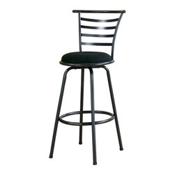 Monarch Specialties - Monarch Specialties I 2396 Silver Grey Metal 43 Inch Swivel Barstool [Set of 2] - This sleek and contemporary Mecca collection, gunmetal colored 29��_��_��_��_��_ high bar stool is perfect for all types of game rooms and dining rooms. With its high horizontal slat back, comfortable black pivoting seat and well positioned footrest, this unit is sure to be the staple of many memorable evenings with friends and family. Barstool (2)